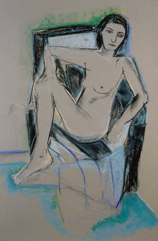 Seated Nude II | Pastels & Charcoal on Paper
