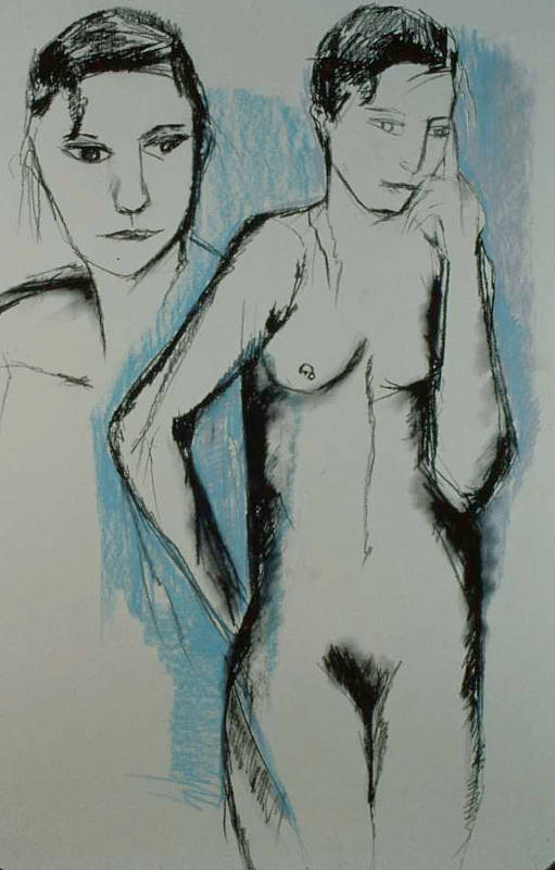 Standing Nude II | Pastels & Charcoal on Paper